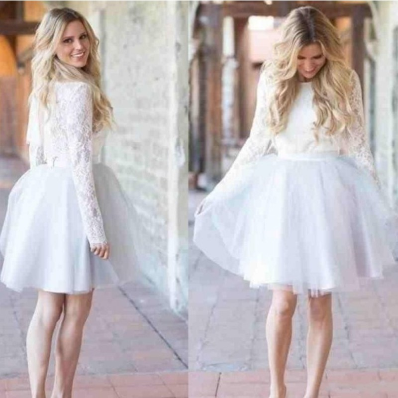 Modest Short   Cocktail     Dresses   2019 Jewel Short Tulle Lace Long Sleeve Celebrity   Dresses   Party Prom Wear