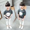 Новый активный хлопок малышей детские девушки футболки девушка топ 2017 весна длинным рукавом печати дети футболка детская одежда блузка розничная