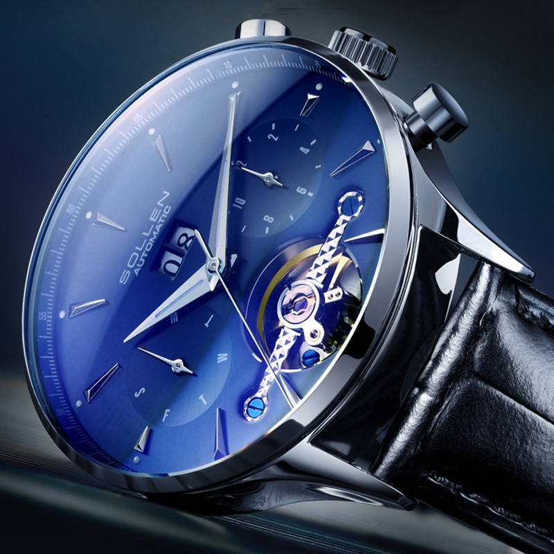 SOLLEN Blue Ocean Geometry Design Tourbillon Skeleton Dial Mens Watch Top Brand Luxury Automatic Fashion Mechanical Watch ClockSOLLEN Blue Ocean Geometry Design Tourbillon Skeleton Dial Mens Watch Top Brand Luxury Automatic Fashion Mechanical Watch Clock