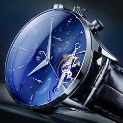 SOLLEN niebieski ocean geometryczny wzór Tourbillon szkielet zegarek męski Top marka luksusowy automatyczny stylowy zegarek mechaniczny zegar
