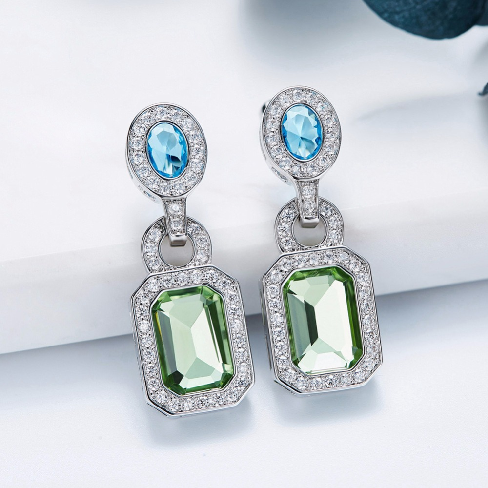 Cdyle Vintage Earrings Crystals from Swarovski Earrings For Women Luxury  Blue Green Elegant Jewelry Austrian Rhinestone-in Drop Earrings from Jewelry  ... 4f19d4533e66