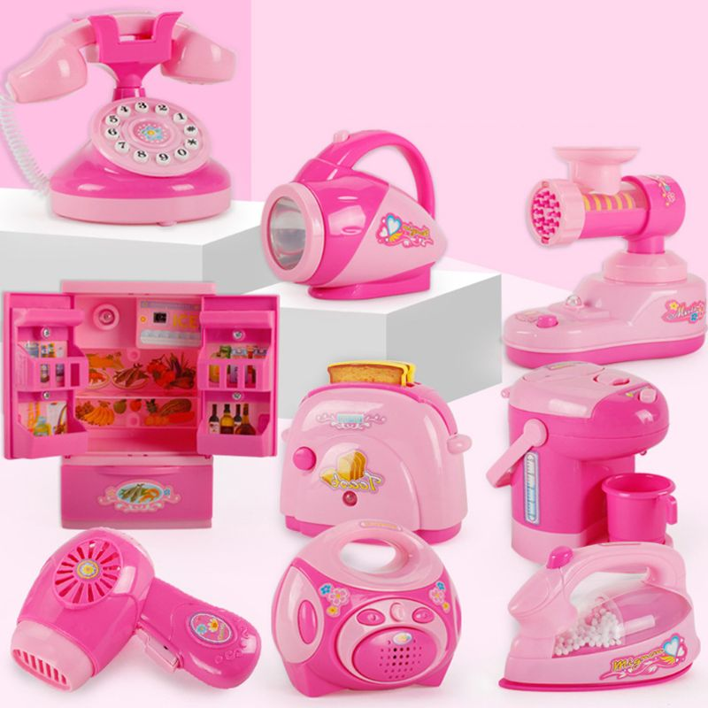 Boy Girl Mini Kitchen Electrical Appliance Bread Machine Toy Set Early Education Children Kid Dummy Household Pretended Play toy in Furniture Toys from Toys Hobbies