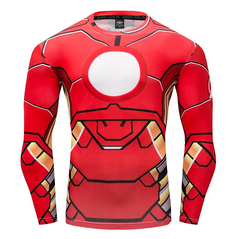 summer Fast dry fitness Long-Sleeve T-Shirt 3D superhero League Warrior Cosplay ompression shirt Gyms Slim T-shirt