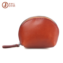 JOYIR Genuine Leather Coin Purse Woman Men Vegetable Tanned Leather Wallet Coin Holder Shell Zipper Coin Bag Mini Purse Bag K005