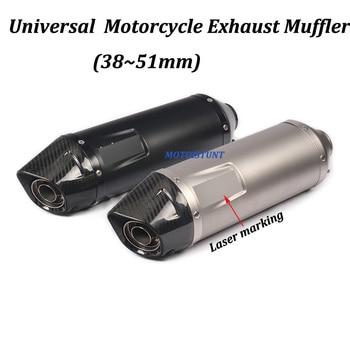 Silenciador de Escape de fibra de carbono Leo Vinc Universal de 38 ~ 51mm para motocicleta, Escape modificado para XMAX300 GSX1300R ZZR1400 XJR1300 CB919