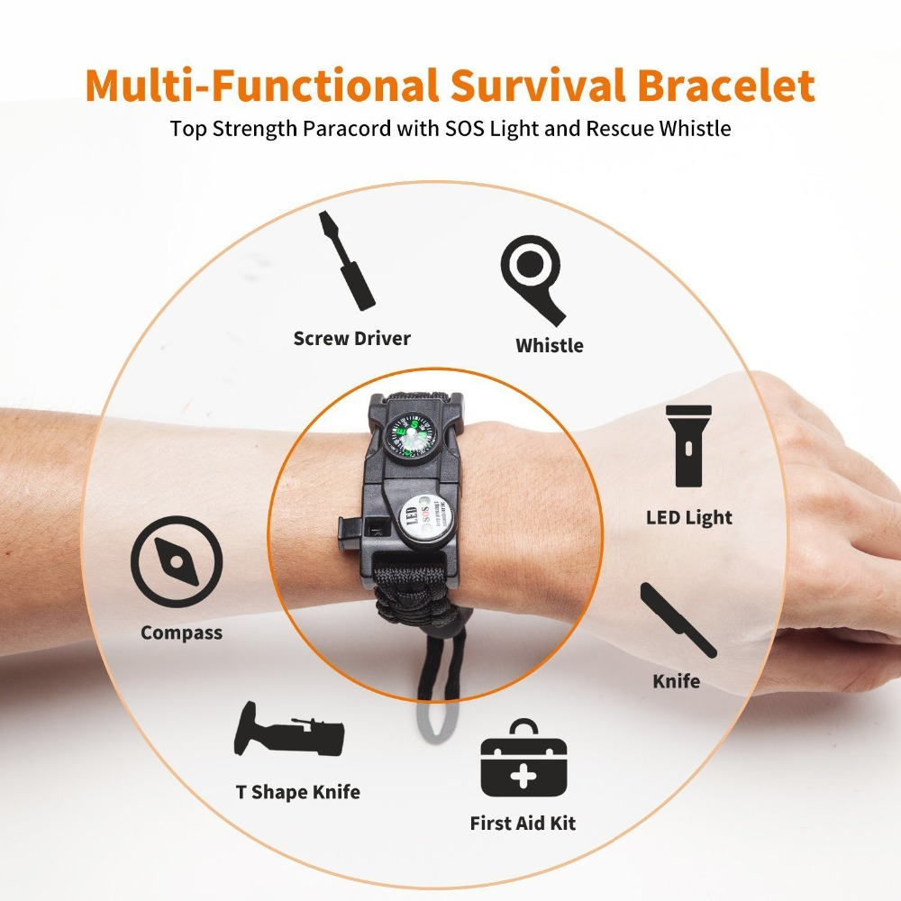 Multifunction Outdoor Survival Paracord Bracelet Camping Equipment Emergency Multi tool Survival Braided Pulseras Rescue Rope Outdoor Bracelets Parachute Cord Paracord (16)
