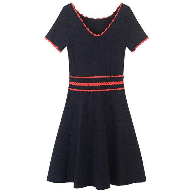 SRUILEE Slim Hollow Out Dress Femme 2019 New Summer Elegant Robe Women Dress Red Striped Splice Pullovers Knit Vestido Runway