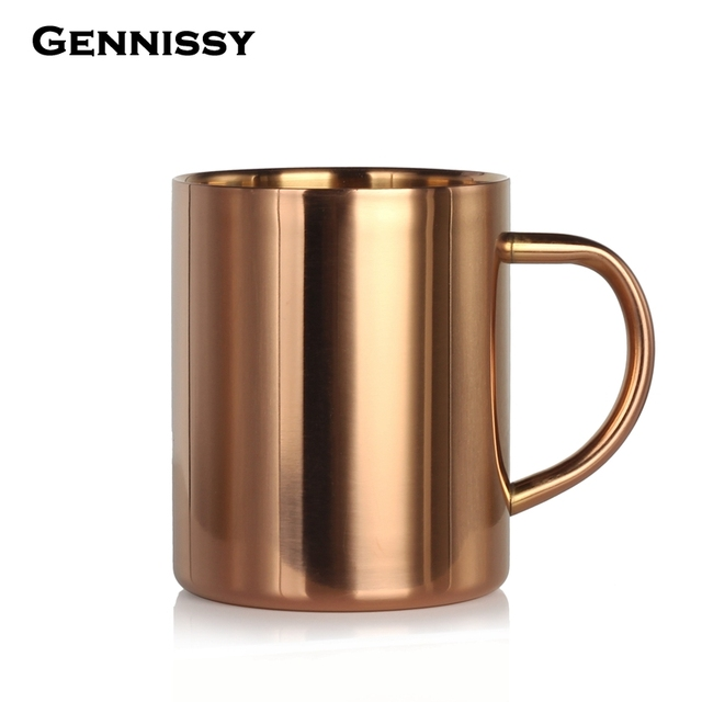 Gennissy 304 Stainless Steel Moscow Mule Copper Mugs Beer Coffee Milk Mug Luxurious Kitchen Drinkware