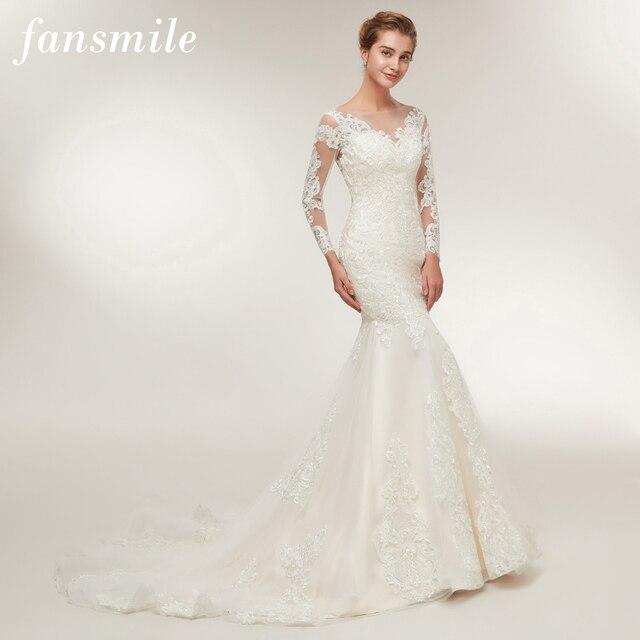 Fansmile New High Quality Illusion Lace Mermaid Wedding Dresses 2018
