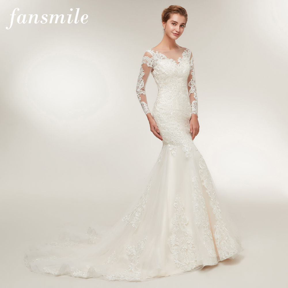Fansmile New High Quality Illusion Lace Mermaid Wedding Dresses 2020 Vestido De Noiva Plus Size Gowns Wedding Dress FSM-397M