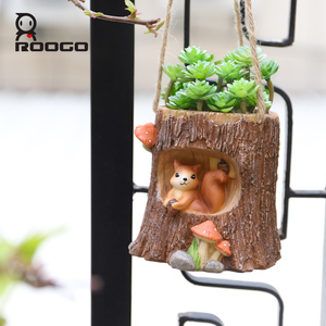 Image 4 - Maceta colgante de madera Roogo, maceta colgante para Balcón de animales, plantas suculentas maceta para, maceta creativa para flores