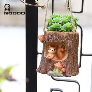 Image 4 - Roogo עץ צורת תליית עציץ מרפסת עציץ תלוי של חיות עסיסי Creative Cachepot עבור פרחים