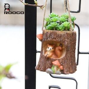 Image 4 - Деревянный висячий цветочный горшок Roogo, подвесная плантатор для балкона, горшок для растений для суккулентов, креативный горшок для цветов