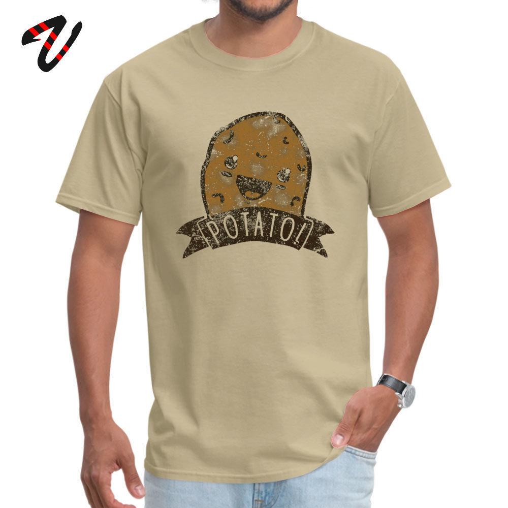 POTATO comfortable T-shirts for Men All Cotton Thanksgiving Day Tops Shirt Print Tee-Shirts Short Sleeve 2019 Discount O-Neck POTATO 557 beige