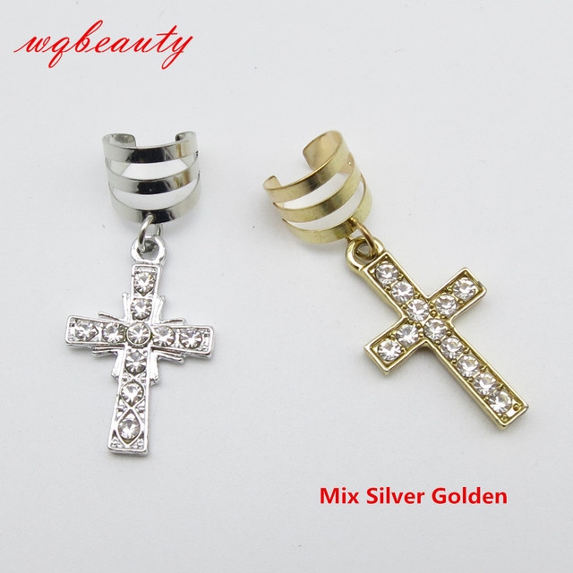 Free Shipping 2pcs Pack Exquisite Silver Golden Cross Hair Braid Dread Dreadlock Beads Adjule Cuffs
