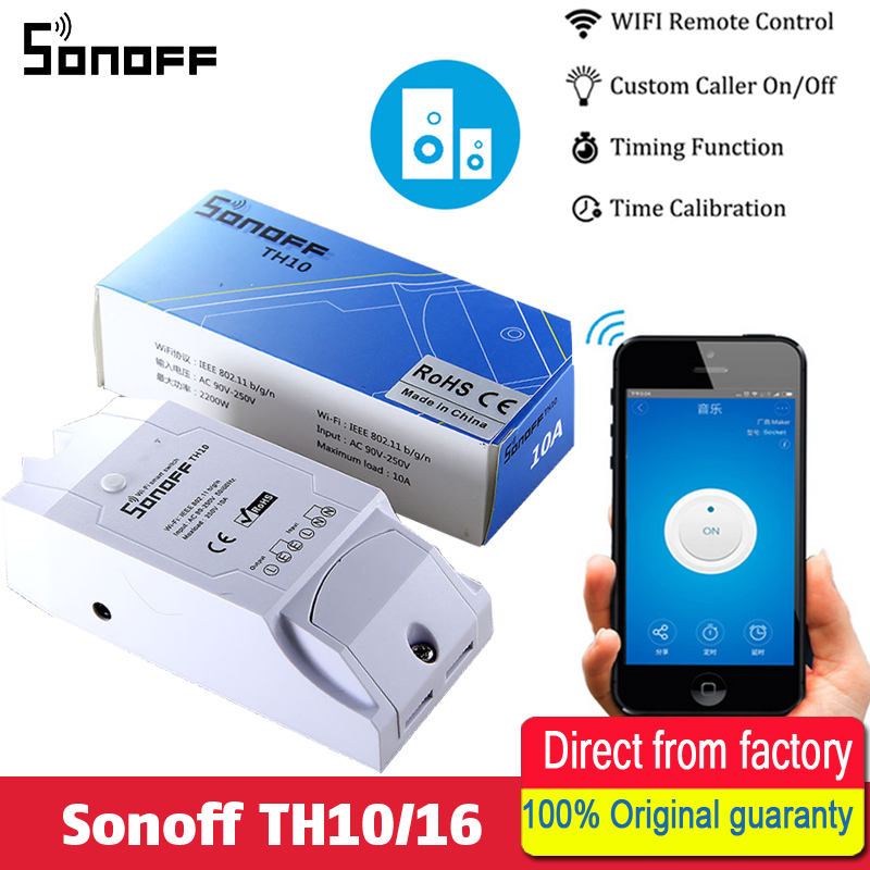 Sonoff TH10/16 Température Et Humidité Surveillance WiFi Smart Switch Affichage en temps Réel 10/16A IOS Android Télécommande ON OFF
