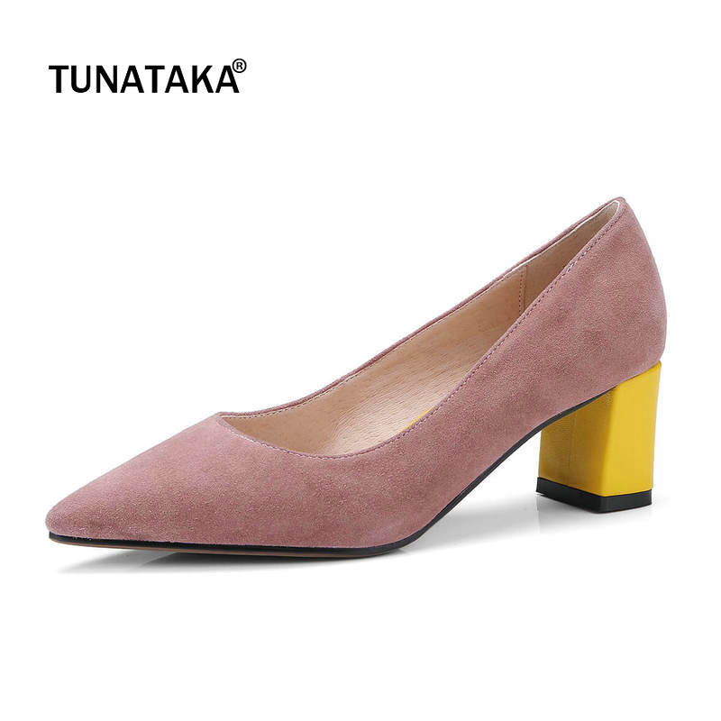 Suede Comfort Mixed Color Square Heel Woman Lazy Pumps Fashion Pointed Toe Dress High Heel Shoes Woman Black Pink