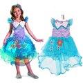 Da Menina Da Sereia do bebê Vestido de Festa Da Princesa, verão Roupas de Bebê Estilo, meninas Flor Vestidos Assimétricos, para 3-9Y Traje Menina