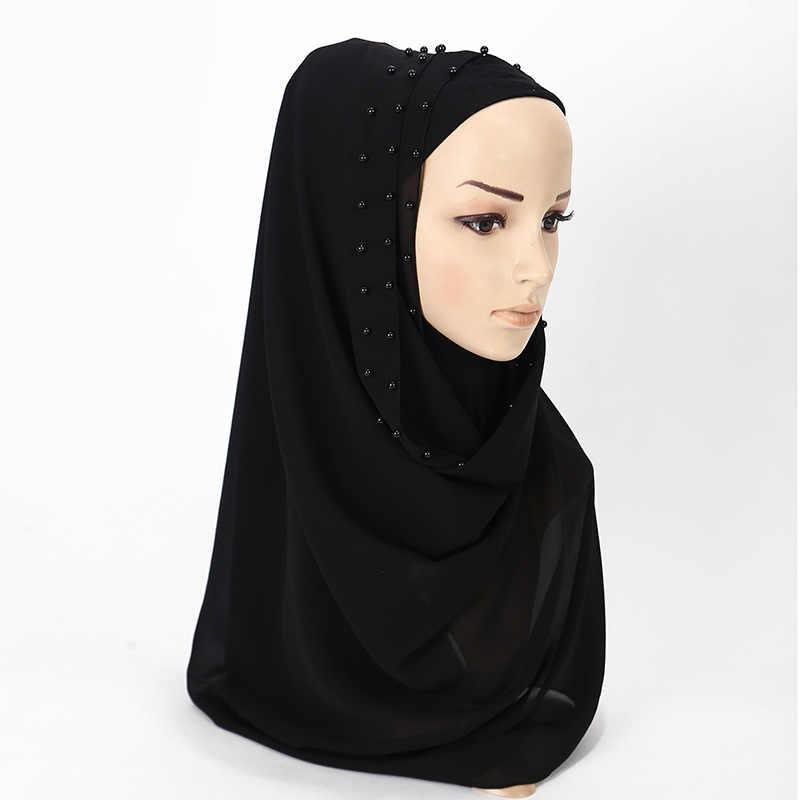 2019 נשים מוסלמי בועת שיפון חיג 'אב צעיף פניני צעיף femme musulman רגיל hijabs צעיפי גלישת כיסוי ראש אסלאמי בגדים
