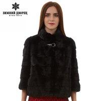 Натурального меха женщины шуба Моды Тонкий Мех jacketmink мех coatShort рукава меховой жилет Короткие подлинная шуба Мандарин воротник