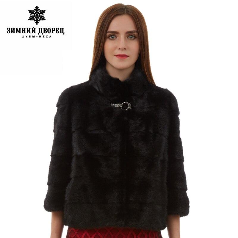 Naturel femmes manteau de fourrure mode Slim veste vison manteau de fourrure à manches courtes gilet de fourrure courte véritable manteau de fourrure col Mandarin