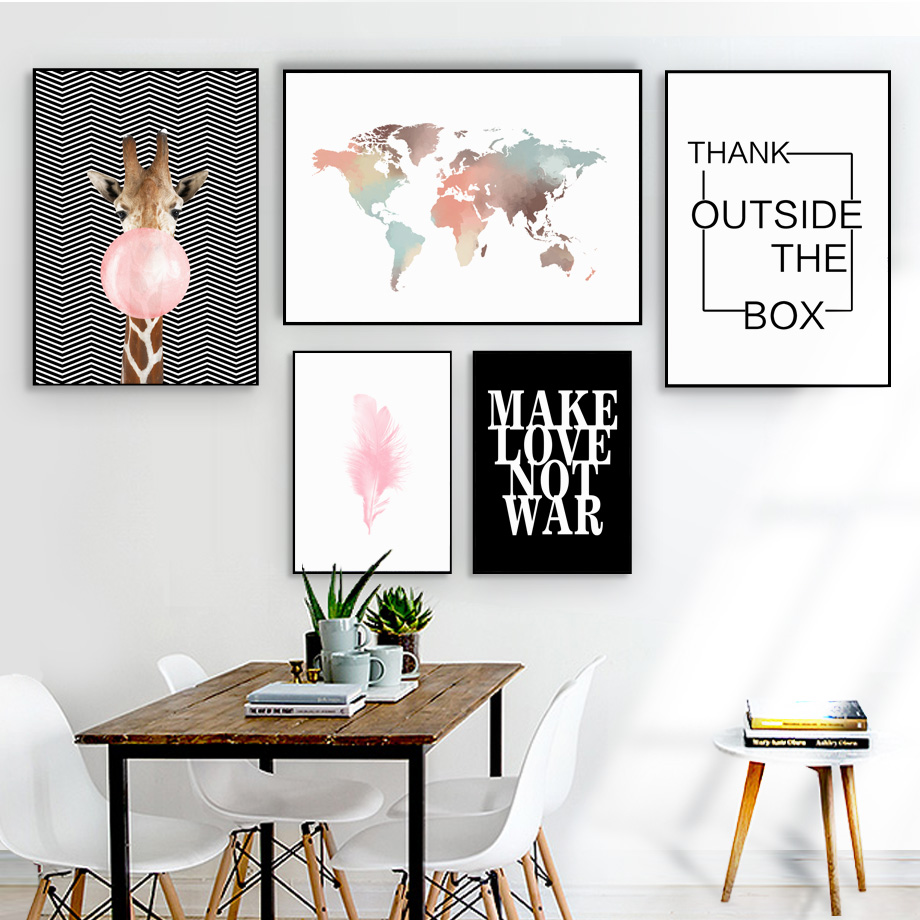Canvas Painting Balloon Watercolor Wall-Picture World-Map Living-Room-Decor Nordic Posters