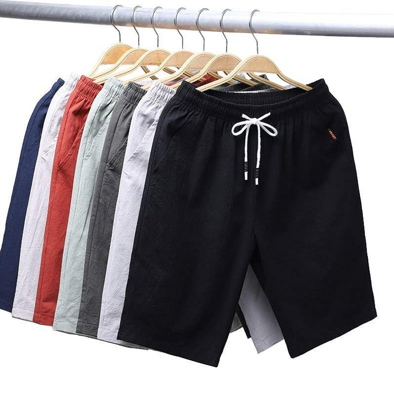 2019 New Men's Shorts solid color linen Cotton Comfortable Casual Chorts breathable fashion Summer Knee Length Shorts Male k66