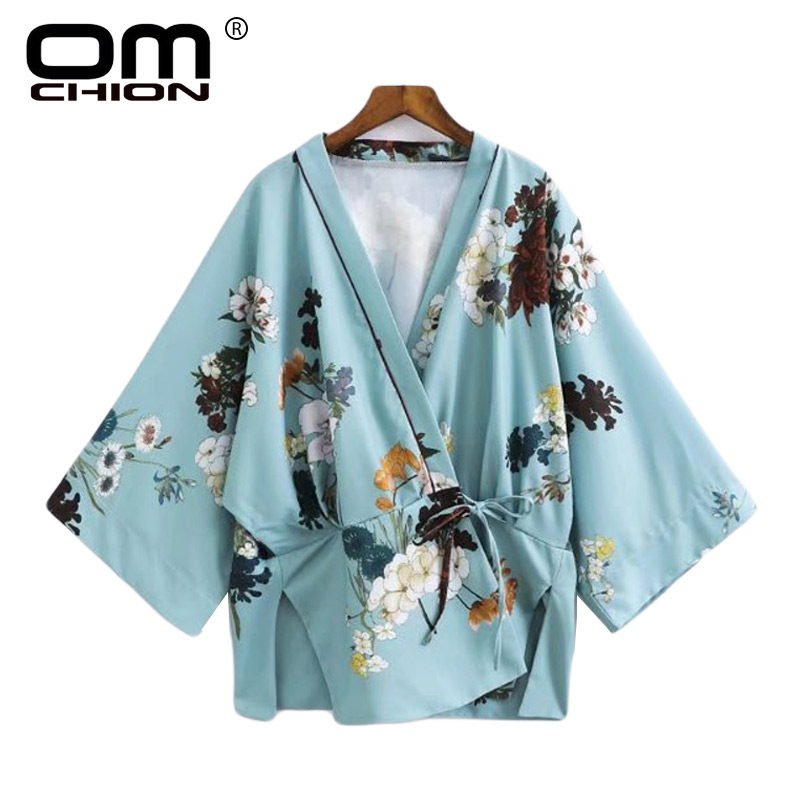 OMCHION Blusas Mujer 2017 Deep V Neck Blouse Women Floral Printed Kimono Outwear Summer Casual Shirt