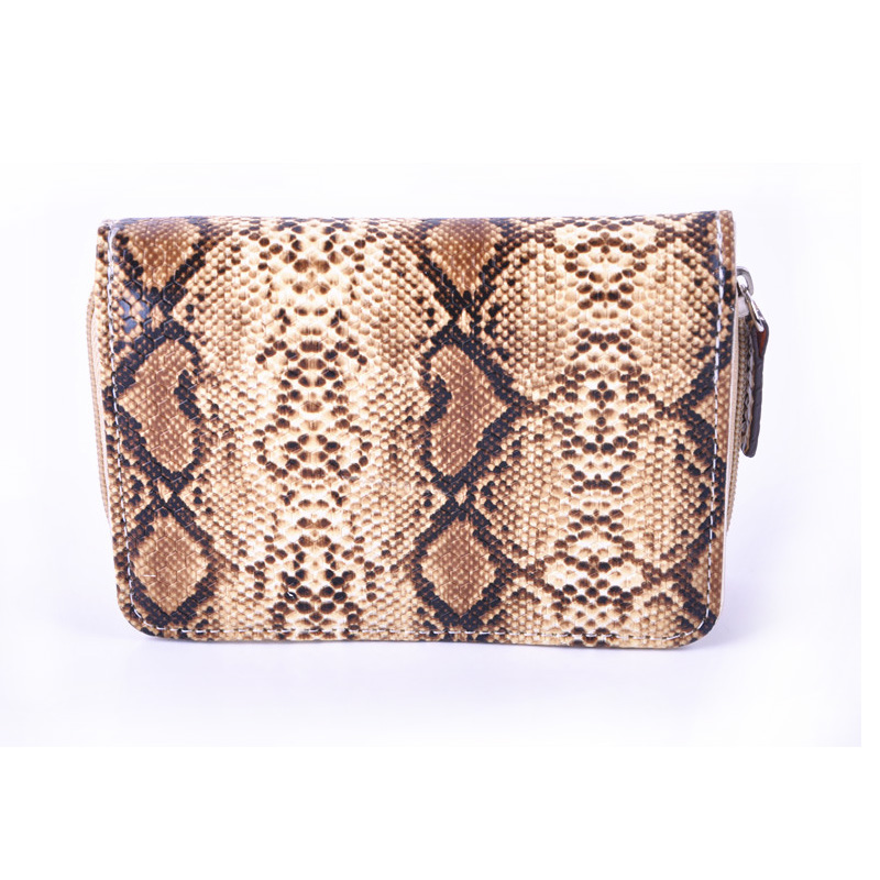 Python Skin Pattern Wallet Women Luxury Brand Small Zipper Card Holder and Money Bags Portomonee Animal Prints 100% real genuine authentic snake skin men s bifold python snake wallet credit card money cash holder and case black free ship