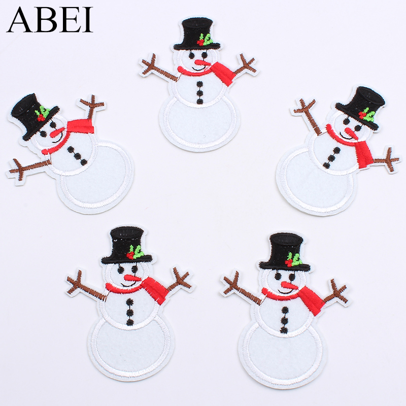 Us 1 89 10pcs Iron On Snowman Patch For Christmas Decors Diy Sewing Fabric Appliques Embroidered Shirts Jeans Coats Bags Stickers Badge In Patches