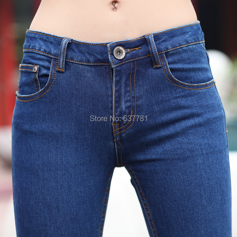 8d6bff030c58 Fashion Pant 2015 Spring Summer High Waist Stretch Blue Skinny Jeans Woman  Ripped Boyfriend Jeans American Apperal-in Jeans from Women s Clothing on  ...