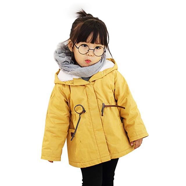 Девушки Зимнее Пальто Тонкий Вскользь Плащ Англия Стиль Бархат Капюшоном Куртки Хлопка детская Зимние Куртки для Девочек