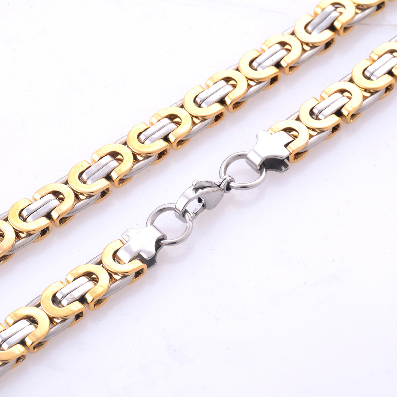Fashion Byzantine Box Chain Stainless Steel Necklace Mens Gold Silver Tone Chain Necklace Personalized Gift Jewelry