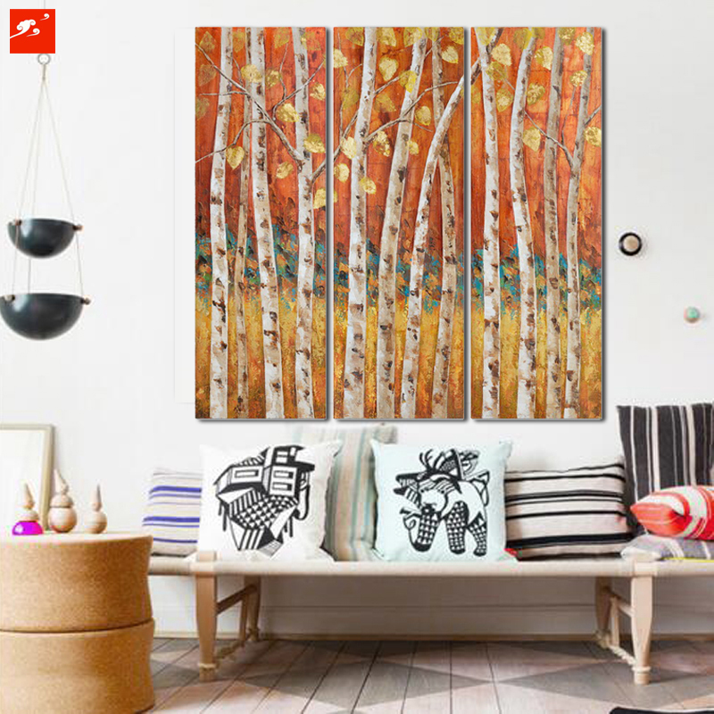 2016 Hot Sale 3 Panel Fall Autumn Warm Golden Birch Trees Forest Rhaliexpress: Paintings For Living Room With Birch Trees At Home Improvement Advice