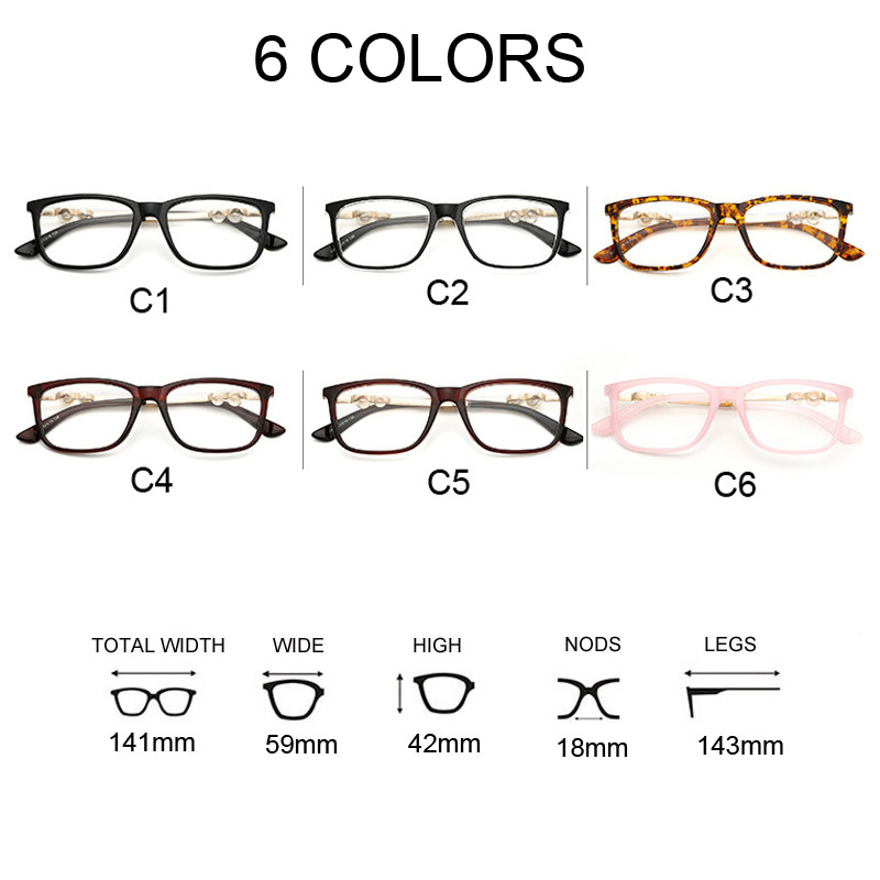 Square Clear Glasses Women Optics Eyeglasses Frames with Pearl ...