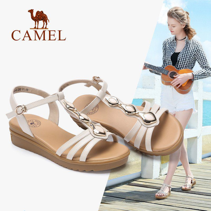 CAMEL New Bohemian Sandals Woman 2018 Summer Flat Sandals Wedge Heel Shoes Waterproof Platform Shoes For Girls bohemian style beading and wedge heel design sandals for women