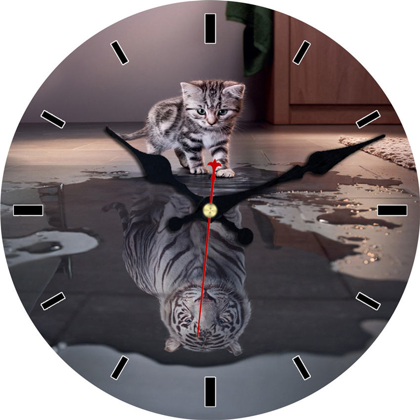 Gray Cat Tiger 12 Inch Round Wall Wooden Cardboard Clock,Modern Wall Clock For Home Decor, Silent & Non-Ticking Feature Clock