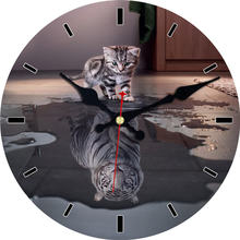 Gray Cat Tiger 12 inch Round Wall Wooden Cardboard Clock,Modern Wall Clock for Home Decor, Silent & Non-Ticking Feature Clock original xiaomi mijia mute movement round wooden wall clock non ticking simple style home kitchen office decoracion wall clock