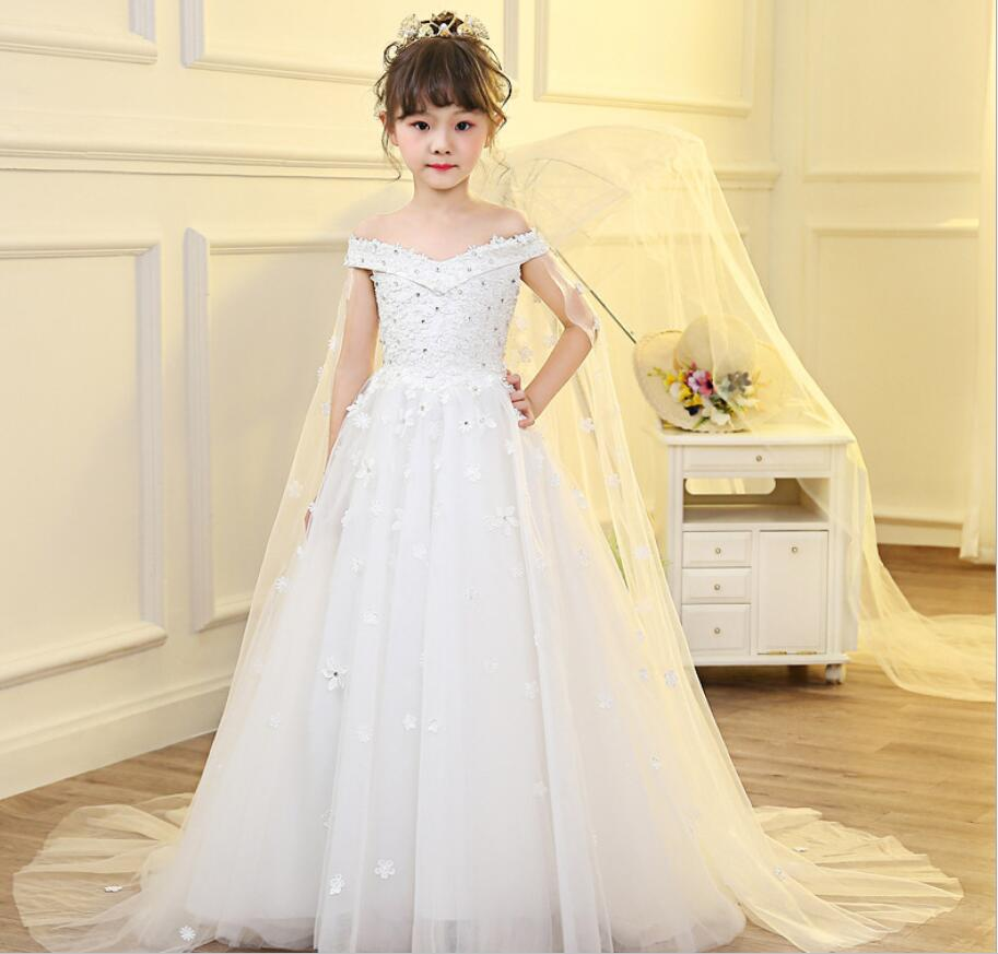 Spring Teenage Sleeveless Christmas Dress Party Prom Wedding Dress Kids Dresses For Girls Costume Clothes Princess Dress HW2340