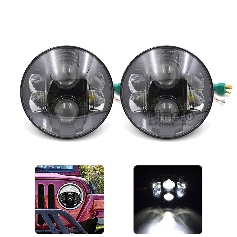 BJGLOBAL 2pcs Lot 7 80w Round LED Hi Lo Projector Headlight 6000K For Jeep Wrangler TJ