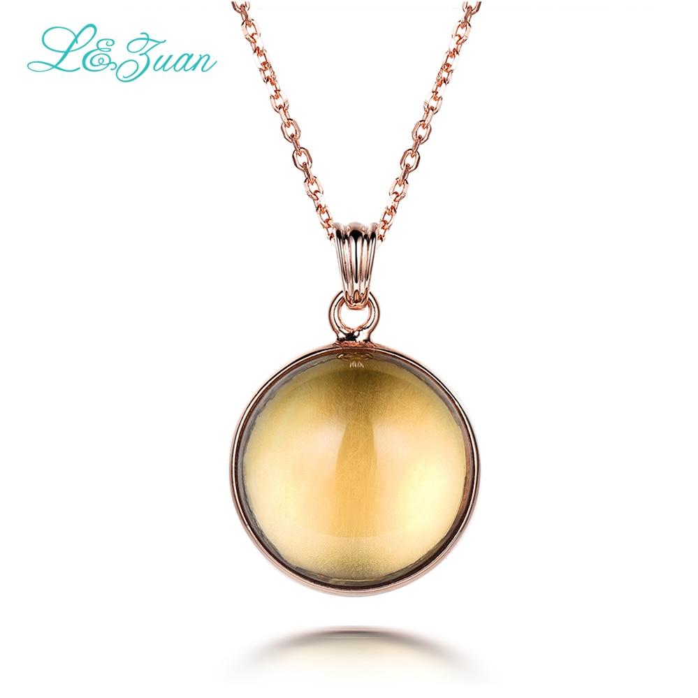 I & Zuan kulatý žlutý kámen náhrdelník s přívěskem přírodní citrín pro ženy 925 mincový stříbrný jemný jednorázový šperk náhrdelník