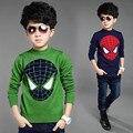 Crochet Crianças Cardigan 2016 Novos Dos Desenhos Animados Superman Meninos Camisola de Malha 95% Lã Crianças Cardigan manga Longa Pullover Inverno Meninas