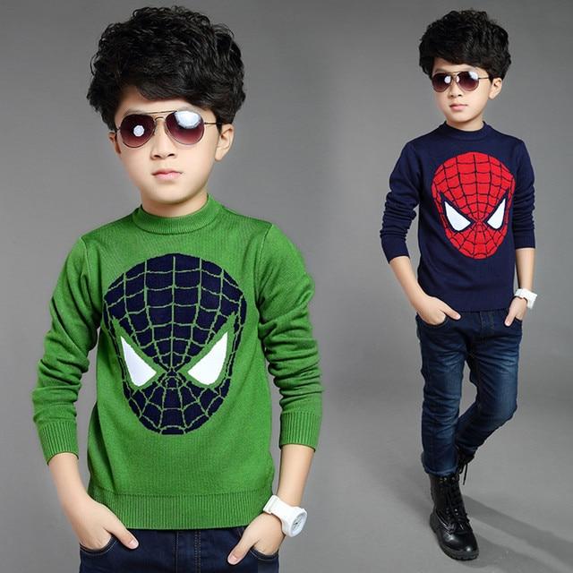 Crochet Kids Cardigan 2016 New Cartoon Superman Boys Knit Sweater 95% Wool Children Cardigan Long sleeve Winter Pullover Girls