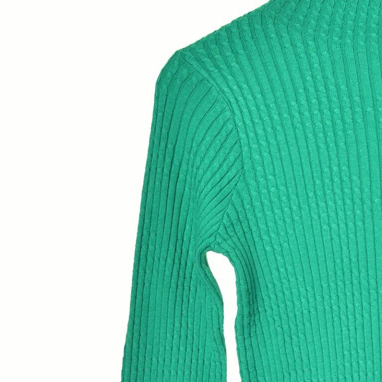 Nuevo Cuello Verde Knitwear De Flare Otoño Mujeres Y El Manga Suéter Wild Invierno Larga Casual 2018 Señora rTqYr