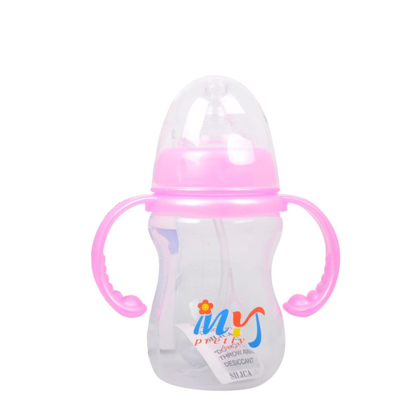 Newborn Baby Feeding Bottle Learn to Drink Water Straw Bottle Cup with Handle 180ML PP Nursing Care Dual Function Juice Milk