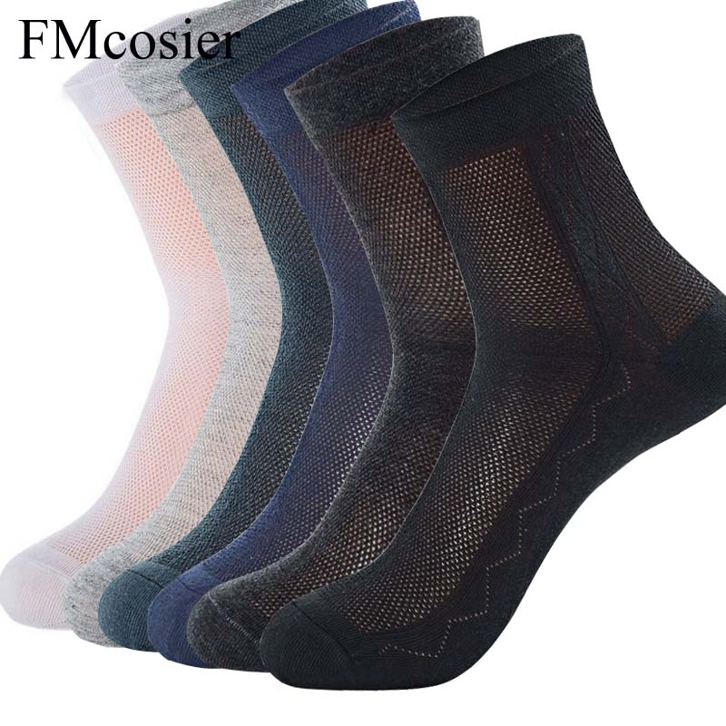 6 Pairs Lot High Quality Autumn Summer 100 Cotton Mesh Socks For Men Thin Black White Gray Sokken Mens Dress Breathable Casual