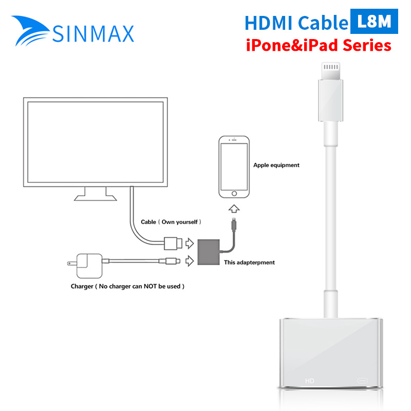 цена White Light to AV HDMI/HDTV TV Digital Cable Adapter For iPhone 6 6plus For iPhone X For iPhone 5/5s 5c ipad mini1 2 3 4