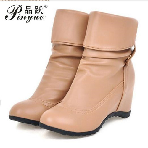 2018 Fashion New Winter Mid-Calf Women Boots 3 Colors flat solid boots autumn Round Toe Slip-on Women Shoes size 34--43 casual female 2016 new winter brown flat heel boots non slip waterproof round toe knight shoes mid calf wear resistance boots