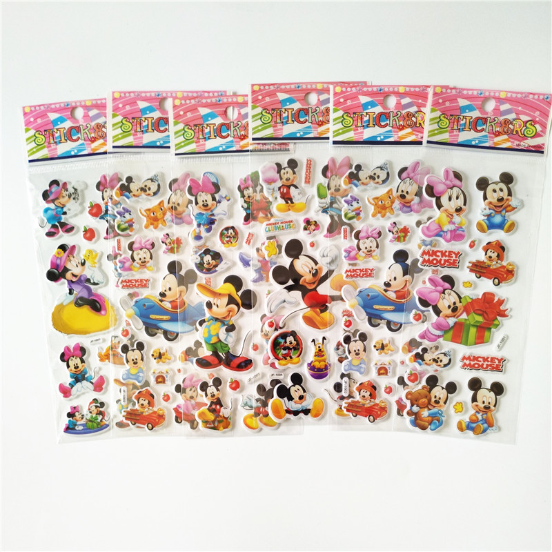 6 sheets Anime Mouse Minnie Mickey Stickers Laptop Car Styling Phone Luggage Bike Motorcycle Cartoon Pvc Waterproof Sticker bevle 50pcs tide brand stickers for laptop car styling phone luggage bike motorcycle mixed cartoon pvc waterproof sticker