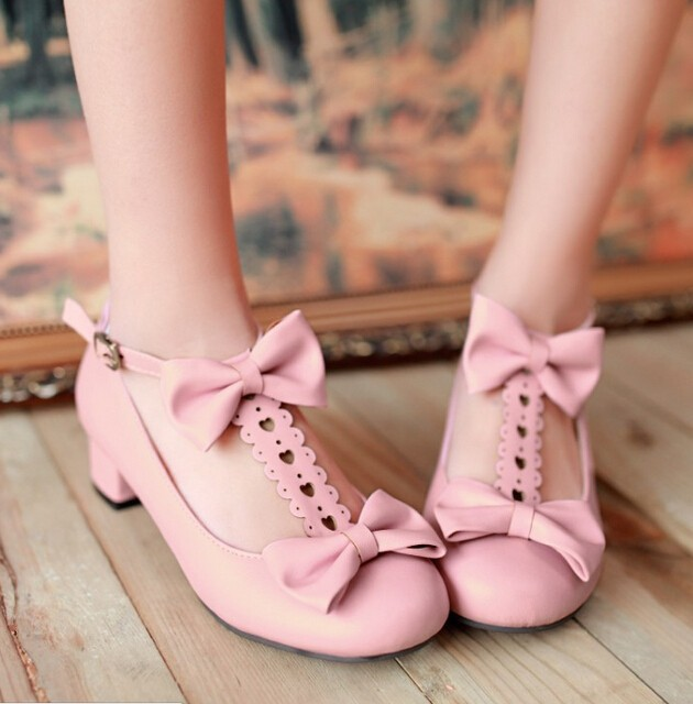 Bow Shoes Women Cosplay Lolita Pumps 2017 Summer New Fashion T Strap Round Toe Free Shipping